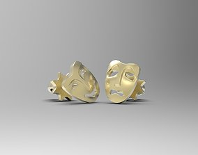 Comedy and Tragedy masks stud earrings 3D print model