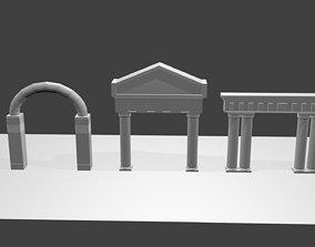 3D asset 3 Greek Ancient Architecture Base Mesh