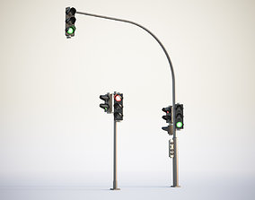 3D model Traffic lights set for pedestrian and vehicles