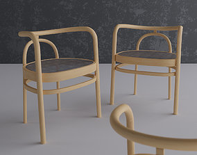 3D Wooden Chair with Fabric Seat architectural