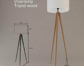 3D model Vloerlamp Tripod wood