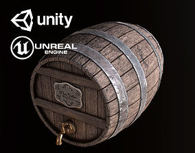 3D model Wine Barrel Cask - PBR Game Ready