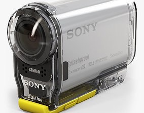 3D asset Sony HDR-AS100V action camera with Case