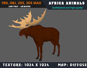 Low Poly Elk Cartoon 3D Model Animated - Game animated