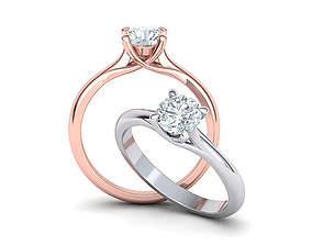 Solitaire ring 4 prongs design printable 3dmodel
