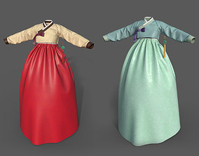low-poly Modern Hanbok Traditional Low-poly 3D model