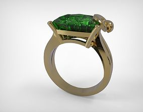 Jewelry Ring Green Sapphire Gem 3D printable model
