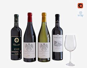 3D model wine bottle set 2