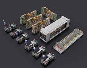 supermarket shop store builder 3D kitbash