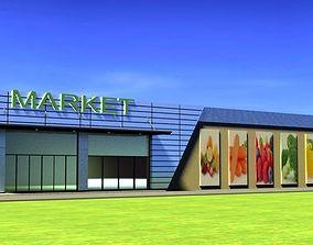 Market 3D model supermarket