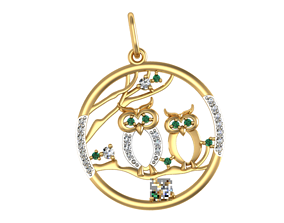 3D print model Pendant Two Owls