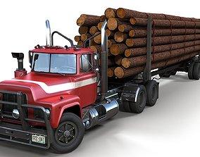 3D asset American vintage log trailer