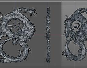 3D printable model emblem low poly dragon