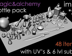 3D Magic and alchemy bottle pack poly