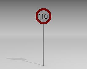 3D model 110 Speed limit sign