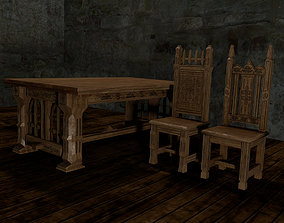 Gothic table and chairs 3D printable model