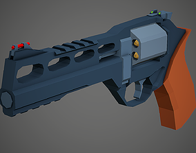 Stylized Rhino 60 DS Revolver Low Poly Mobile 3D asset