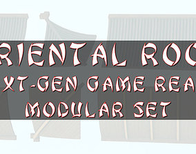 3D asset Oriental Roof Modular Elements Next Gen Game 1