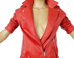 Jacket Bright Red Leather Open Women Fashion 3D asset