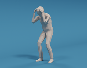 3D asset Low Poly Kid Holding Head