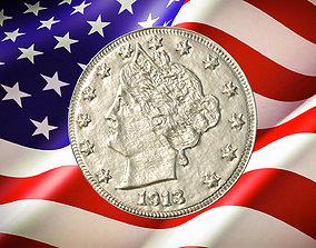 1913 Liberty Head V Nickel US Coin 3D printable model