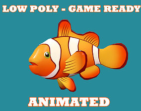 Low poly Clown Fish Cartoon Animated - Game 3D asset