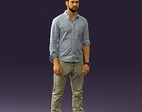 Man in blue top white jeans 0437 3D Print Ready