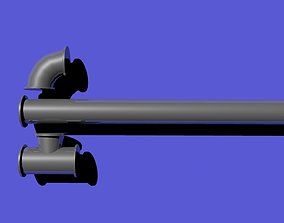 3D model 3 piece Modular Pipe system