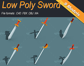 cinema Low Poly Sword 3D model VR / AR ready