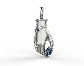 Hand pendant with gem 3D printable model