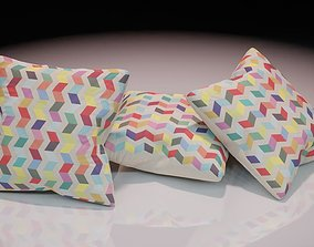 Contemporary colourful cushion design 2 3D asset
