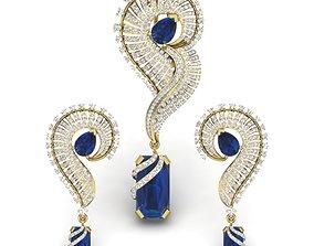 studs Women pendant-earrings set 3dm render detail