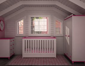 3D asset MOTHER BABY ROOM FURNITURE