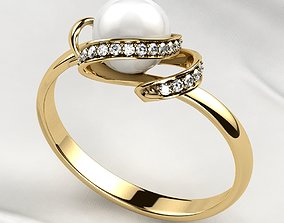 3D print model Pearl 7mm Gold Ring