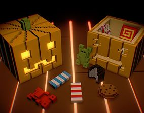 Voxel Pumpkins and Sweets 3D asset