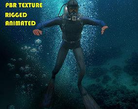 Scuba diver rigged 3D model