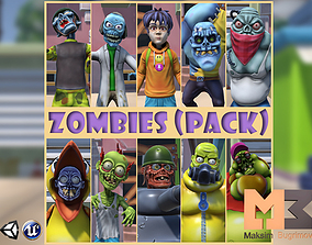 Cartoon Zombies Pack 3D model
