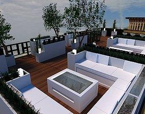 3D model roof top terrace lounge bar