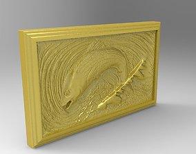 Fish scene tableau 3d stl model for cnc