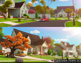 Cartoon Town Home Exterior Scene 3D