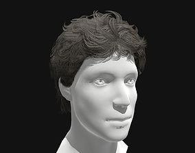 3D asset Male Curly Long Hairstyle