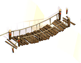 Handpaint Cartoon Wooden Structure 3D asset 1