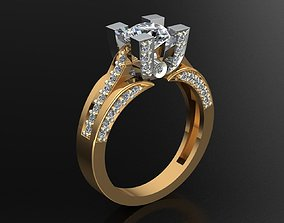 MGold027r Engagement Ring 3D print model wedding