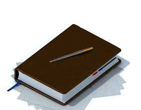 Book With Papers And A Pen 3D