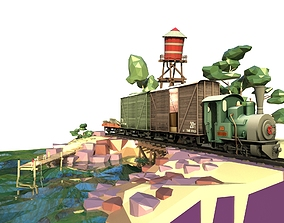 3D Low poly Steam Train