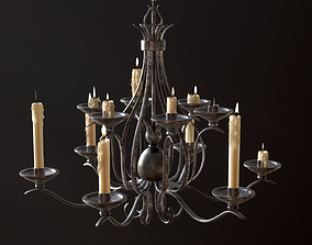 3D asset Old Medieval Chandelier with Candles