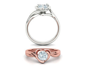 3D print model Brief Heart Solitaire Engagement ring 1