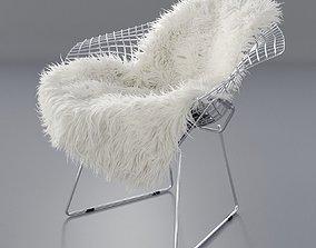 3D model Sheepskin on Bertoia Diamond chair by Knoll