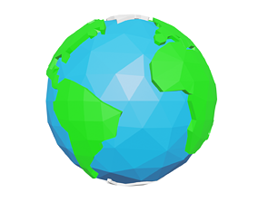 3D model game-ready Low-Poly Earth