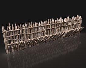 Next Gen AAA Wooden Palisade Walls 3D model